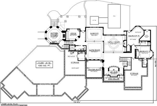 Lower level floor plan - 9400 square foot European home