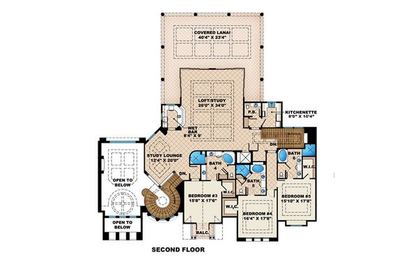 Mediterranean Floor Plan - Upper Floor Plan Plan #27-536
