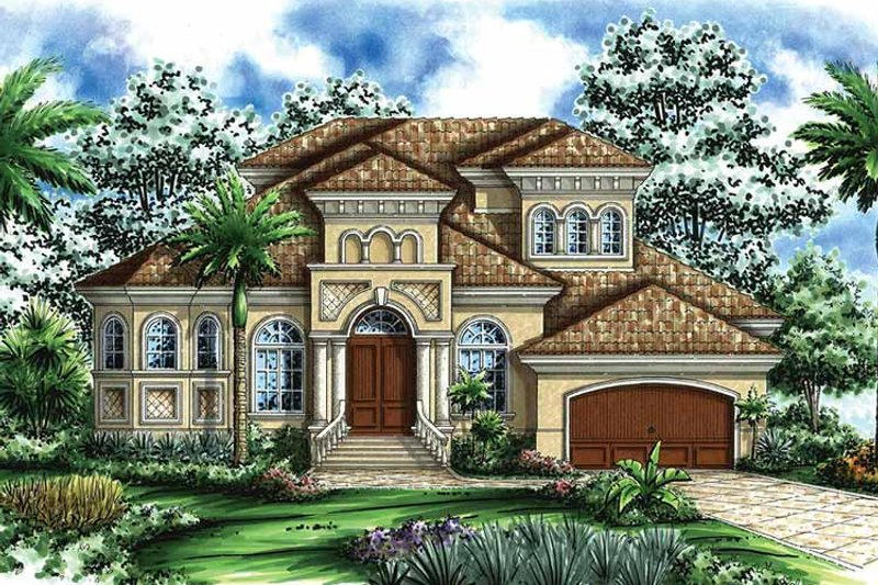 Mediterranean Exterior - Front Elevation Plan #1017-35 - Houseplans.com