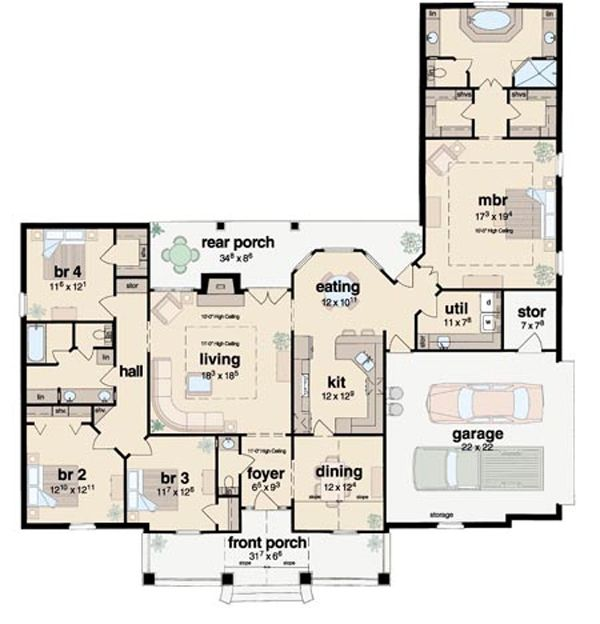 Traditional Style House Plan - 4 Beds 2.5 Baths 2326 Sq/Ft Plan #36-207 Floor Plan - Main Floor Plan