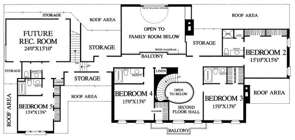 Home Plan - Upper level floor plan - 5800 square foot Southern home