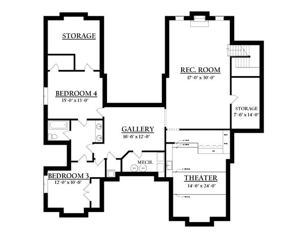 Country Floor Plan - Lower Floor Plan Plan #937-6