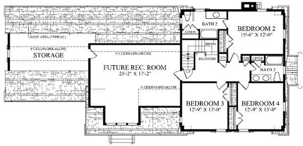 Colonial Floor Plan - Upper Floor Plan Plan #137-259