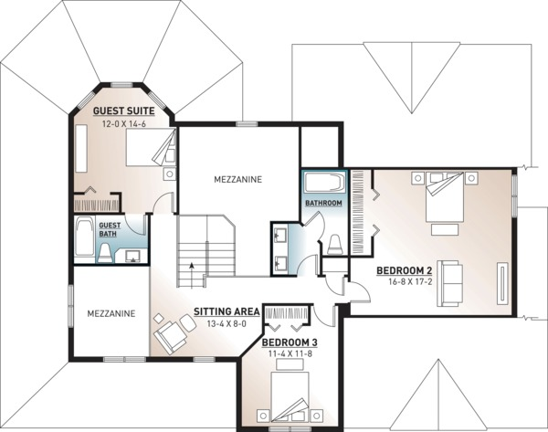 Traditional Floor Plan - Upper Floor Plan Plan #23-603