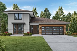Contemporary Exterior - Front Elevation Plan #48-1023