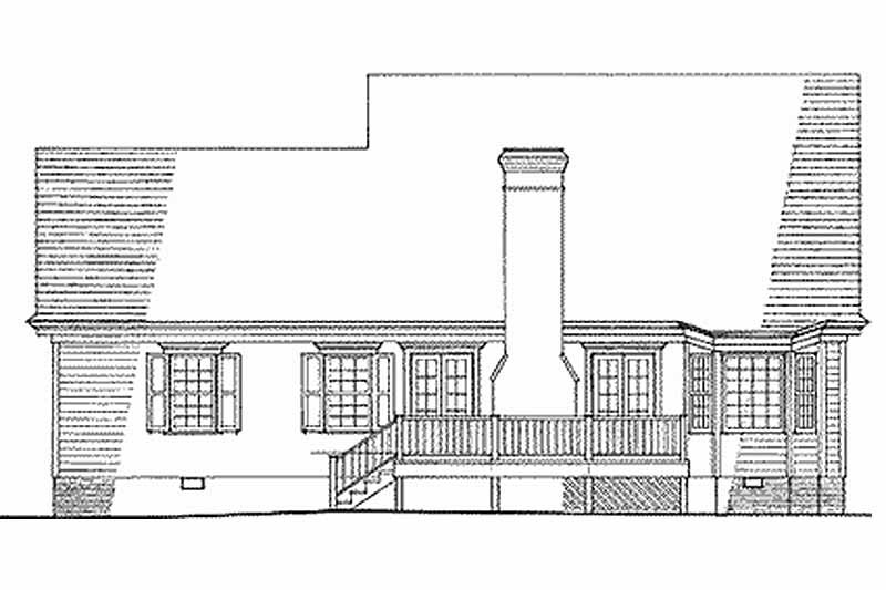 Southern Exterior - Rear Elevation Plan #137-212 - Houseplans.com