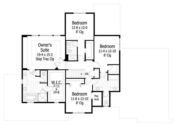 Traditional styel house plan, upper level floor plan