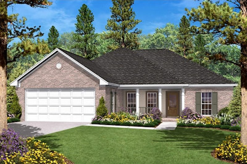 Ranch Style House Plan - 3 Beds 2 Baths 1400 Sq/Ft Plan #430-9 Exterior - Front Elevation