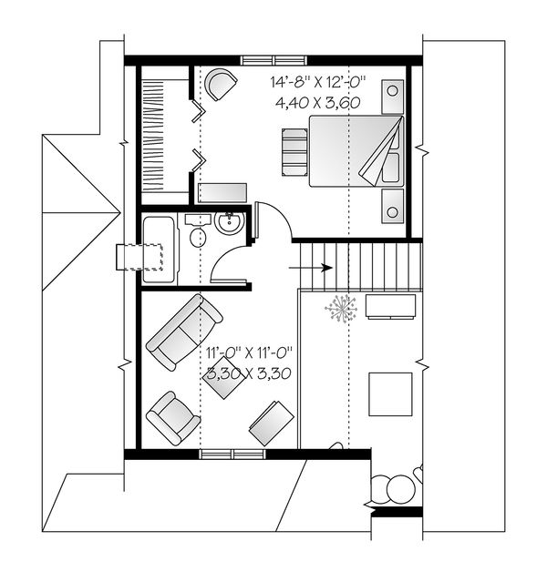 Cottage Floor Plan - Upper Floor Plan Plan #23-824