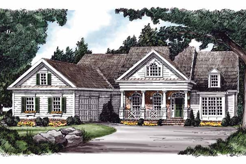 Country Exterior - Front Elevation Plan #927-596