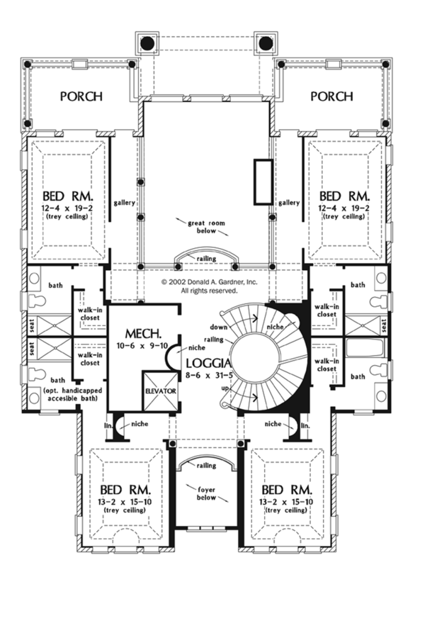 Mediterranean Floor Plan - Upper Floor Plan Plan #929-900