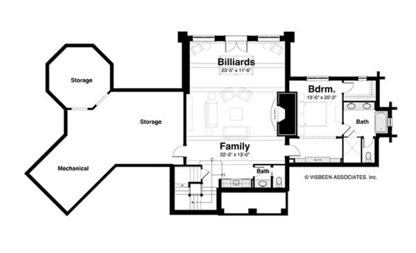 Log Floor Plan - Lower Floor Plan Plan #928-258