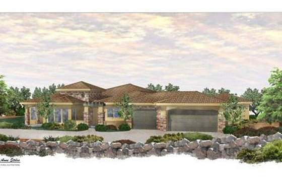 Mediterranean Exterior - Front Elevation Plan #24-249