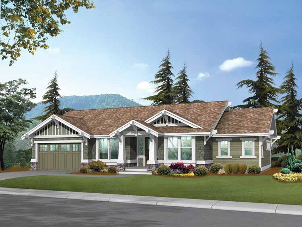 Craftsman style house plan 2 beds 2 baths 1725 sq ft for Craftsman vs mission style