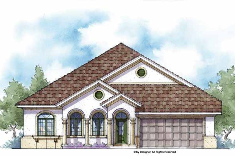 Mediterranean Exterior - Front Elevation Plan #938-21