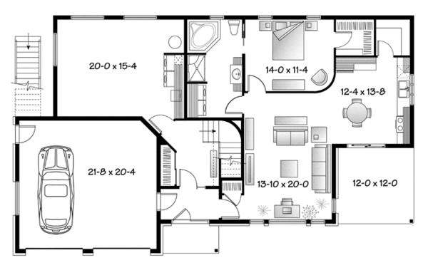 Contemporary Floor Plan - Main Floor Plan Plan #23-2599