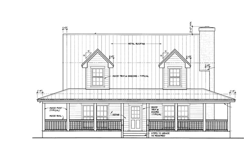 Country Exterior - Front Elevation Plan #140-183 - Houseplans.com