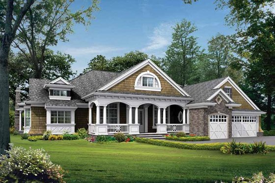 Craftsman Exterior - Front Elevation Plan #132-282