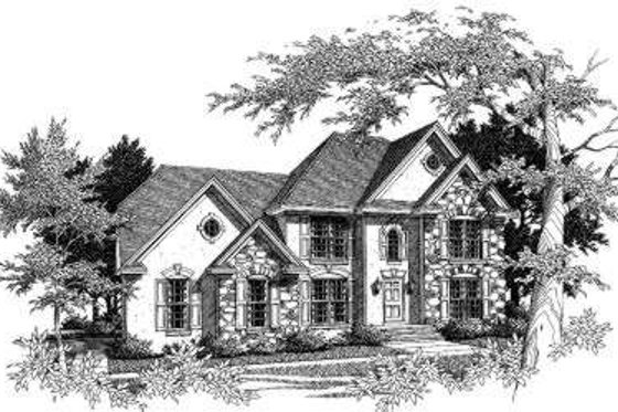 European Exterior - Front Elevation Plan #329-111