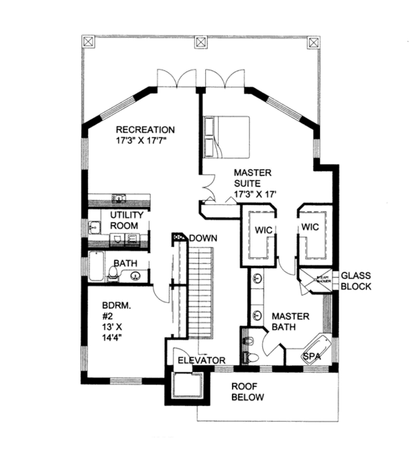Contemporary Floor Plan - Upper Floor Plan Plan #117-862