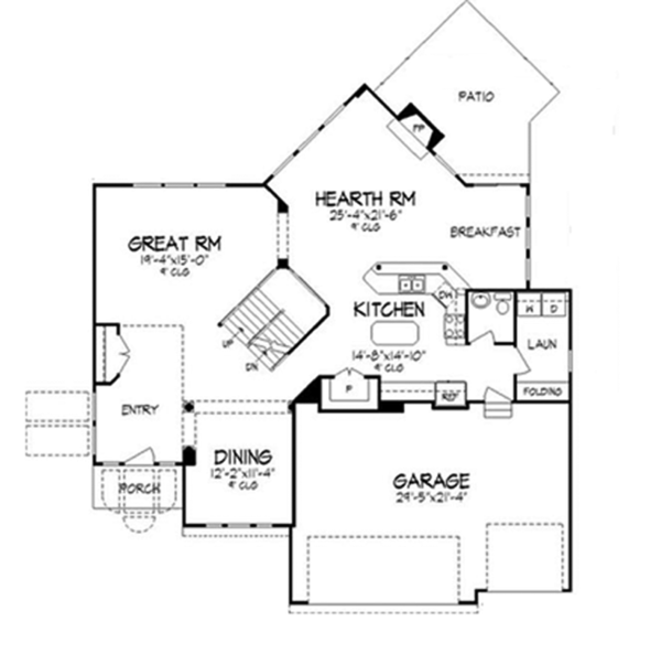 Contemporary Floor Plan - Main Floor Plan Plan #320-1410