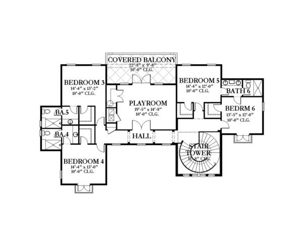 Mediterranean Floor Plan - Upper Floor Plan Plan #1058-151