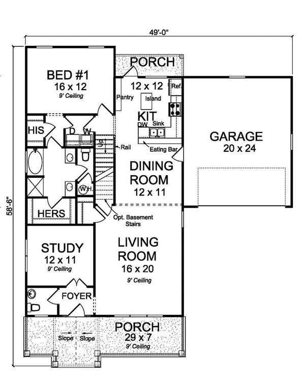 Traditional Floor Plan - Main Floor Plan Plan #513-2096