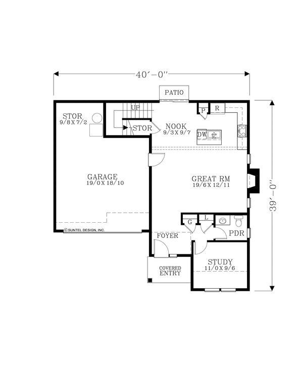 Craftsman Floor Plan - Main Floor Plan Plan #53-606