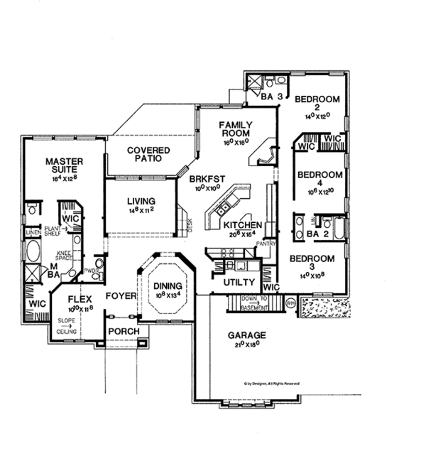 Mediterranean Floor Plan - Main Floor Plan Plan #472-304