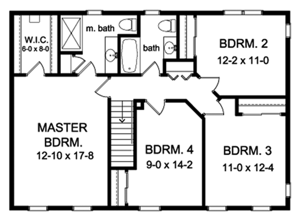 Colonial Floor Plan - Upper Floor Plan Plan #1010-152