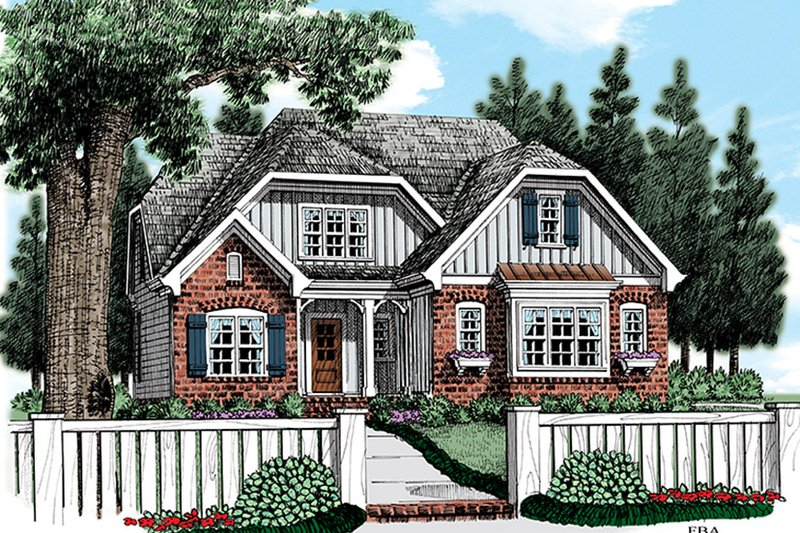 Cottage Exterior - Front Elevation Plan #927-972