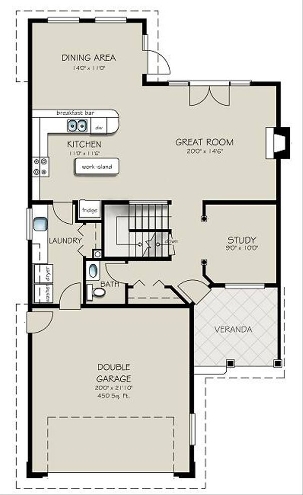 Architectural House Design - Traditional Floor Plan - Main Floor Plan #427-7