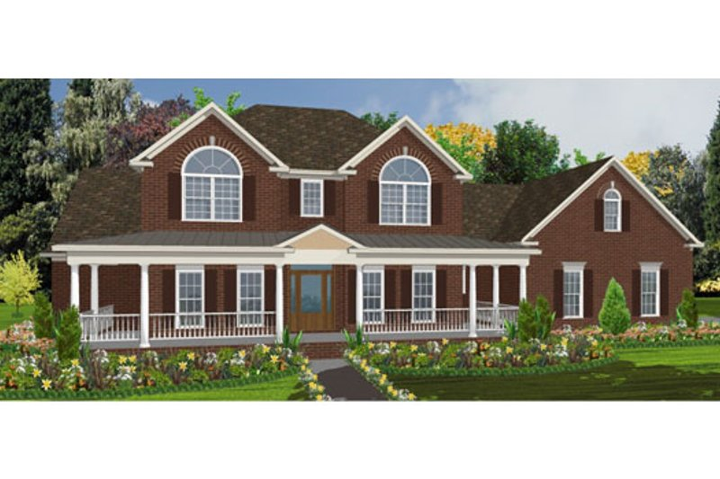Traditional Style House Plan - 4 Beds 3.5 Baths 2859 Sq/Ft Plan #63-209 Exterior - Front Elevation