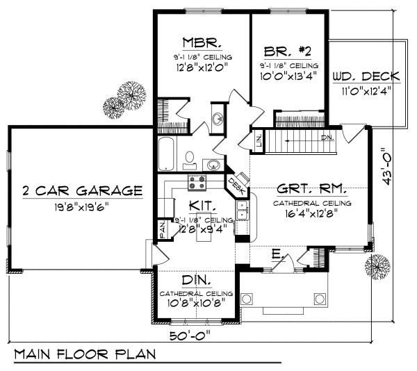 Cottage Floor Plan - Main Floor Plan Plan #70-857
