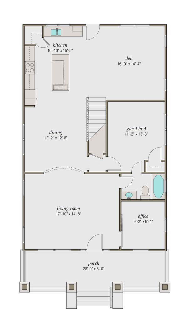 Craftsman Floor Plan - Main Floor Plan Plan #461-48