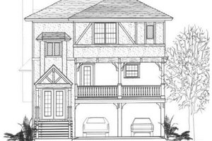 Tudor Exterior - Front Elevation Plan #14-254