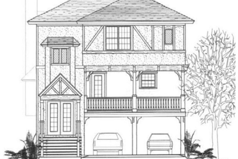 Tudor Style House Plan - 3 Beds 3.5 Baths 2663 Sq/Ft Plan #14-254 Exterior - Front Elevation