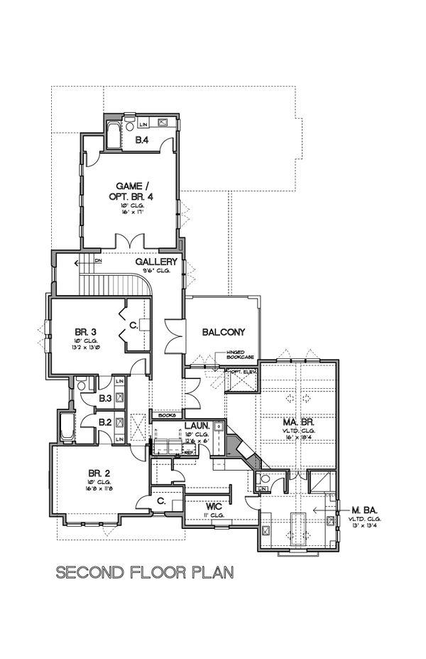 Mediterranean Floor Plan - Upper Floor Plan Plan #449-18