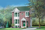 European Style House Plan - 2 Beds 1.5 Baths 1383 Sq/Ft Plan #25-2143 Exterior - Front Elevation