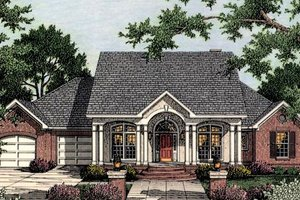 House Blueprint - Southern Exterior - Front Elevation Plan #406-105