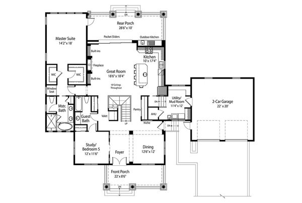 Traditional Floor Plan - Main Floor Plan Plan #938-85