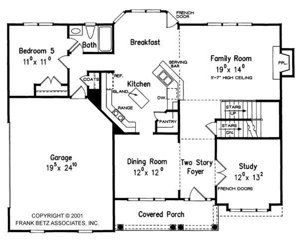 Colonial Floor Plan - Main Floor Plan Plan #927-953