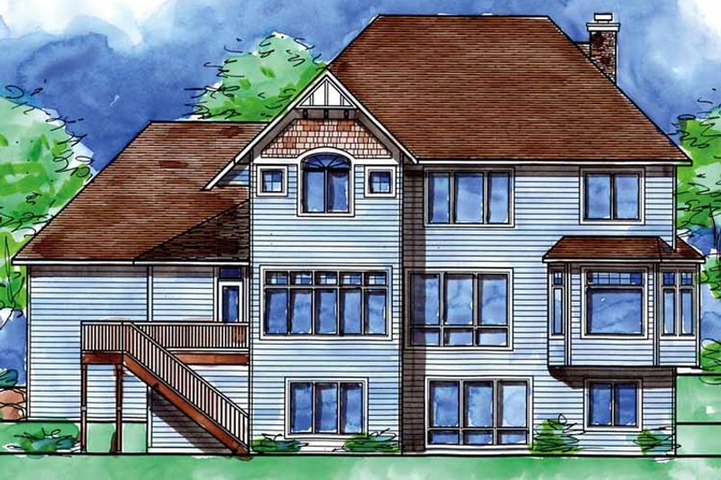 Country Exterior - Rear Elevation Plan #320-1474 - Houseplans.com