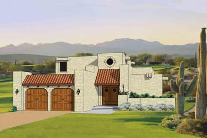 Adobe / Southwestern Style House Plan - 3 Beds 2.5 Baths 1879 Sq/Ft Plan #116-293 Exterior - Front Elevation