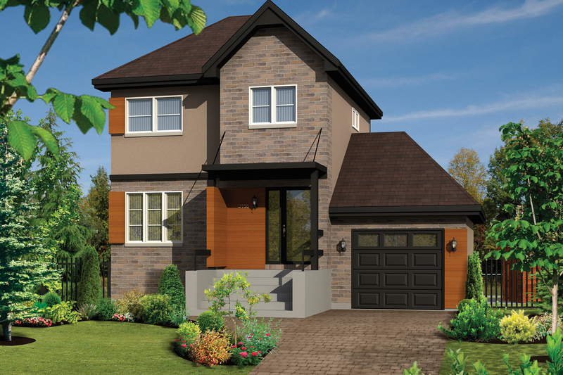 Contemporary Style House Plan - 3 Beds 1 Baths 1107 Sq/Ft Plan #25-4345 Exterior - Front Elevation