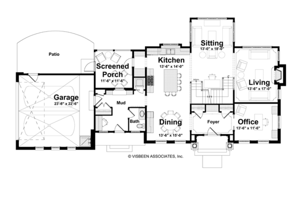 Classical Floor Plan - Main Floor Plan Plan #928-240