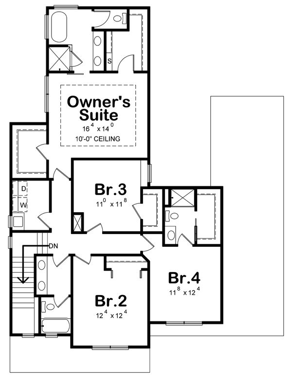Farmhouse Floor Plan - Upper Floor Plan Plan #20-2392