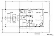 Log Style House Plan - 2 Beds 2 Baths 1394 Sq/Ft Plan #451-11 Floor Plan - Main Floor