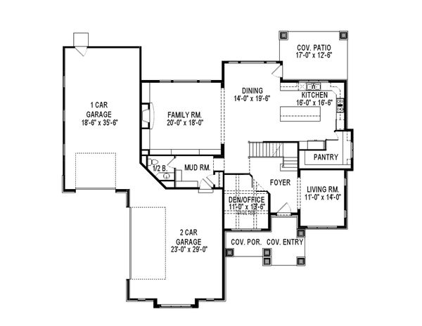 Contemporary Floor Plan - Main Floor Plan Plan #920-46