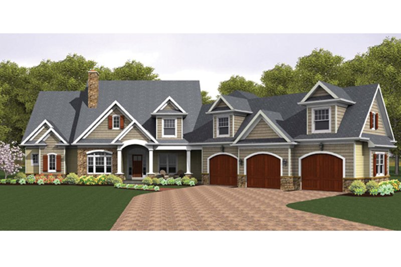 Colonial Style House Plan - 4 Beds 3.5 Baths 3247 Sq/Ft Plan #1010-40 Exterior - Front Elevation
